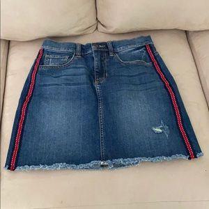Sneak Peek. Denim Distressed Skirt